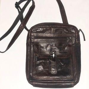 Handbags - GENUINE BROWN LEATHER CROSSBODY BAG